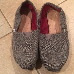TOMS Woven Black Tweed Flats RES Threads